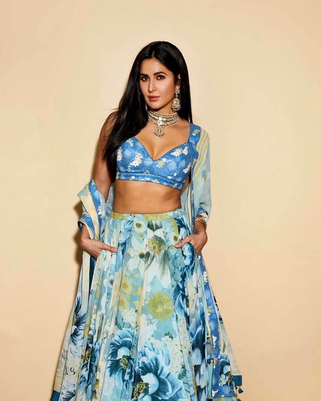 Katrina Kaif Blue Beautiful Floral Print Designer Dress