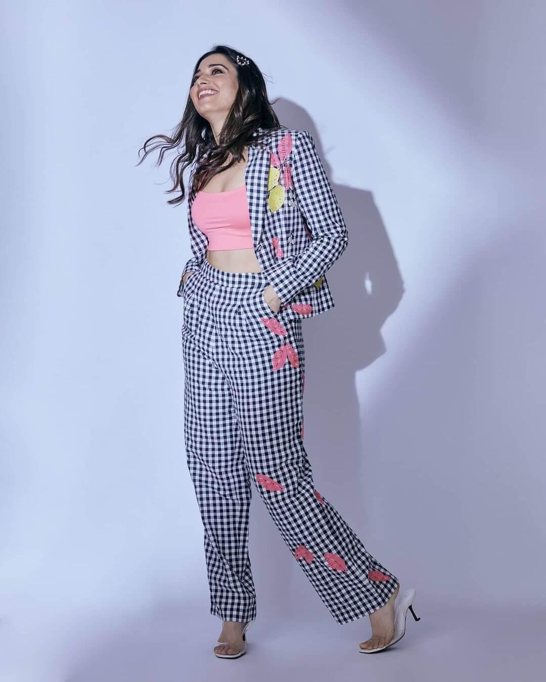 Tamannaah Bhatia checked Beautiful Floral Print Designer Dress