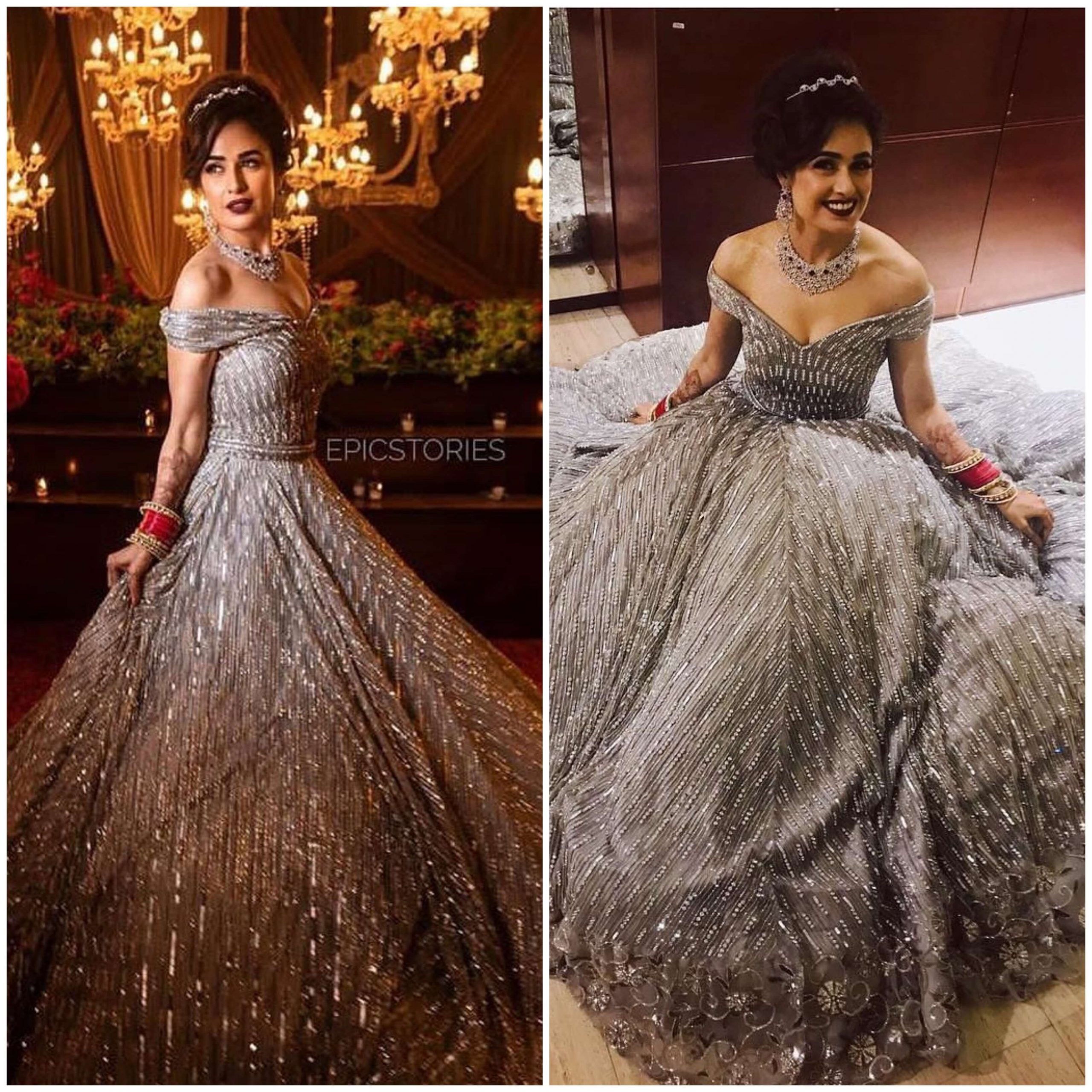 Yuvika Chaudhary Sequinned Empire Wedding Gown for wedding functions