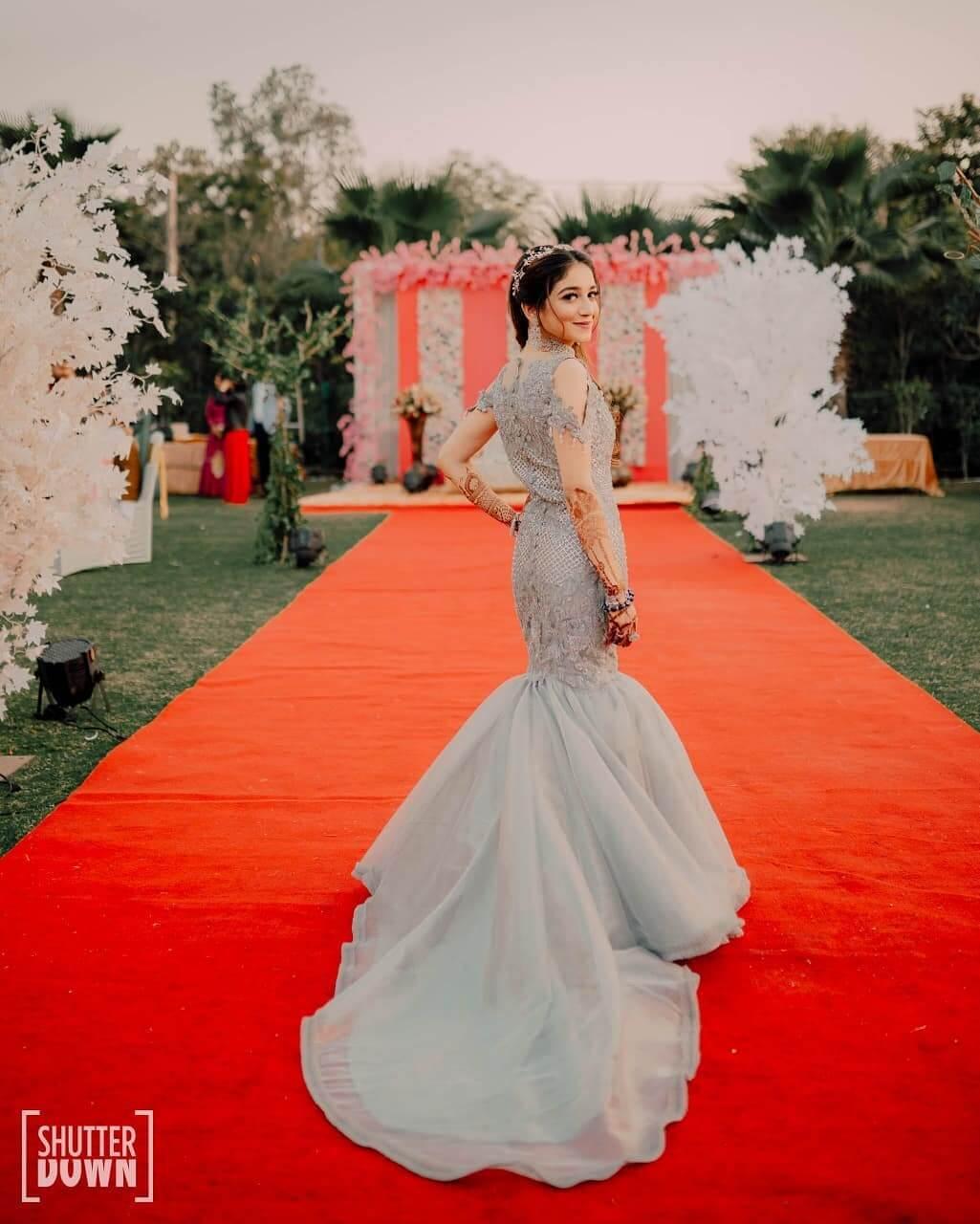 The Flattering Grey Mermaid Wedding Gown for wedding functions