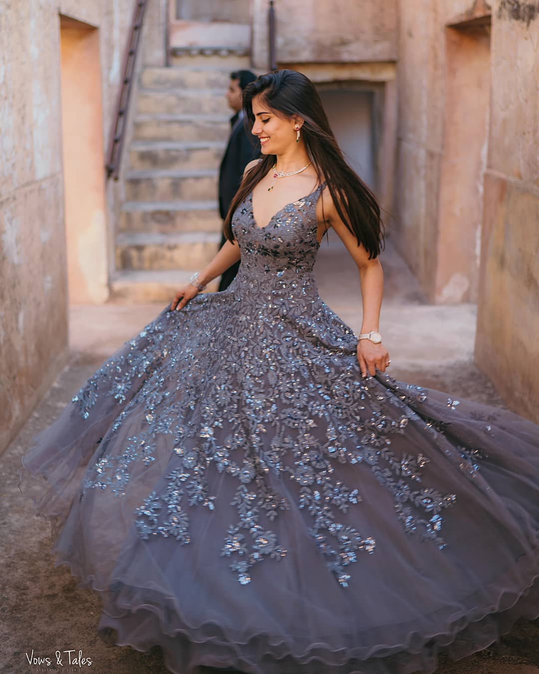 Pastel Prussian Blue Wedding Gown for wedding functions