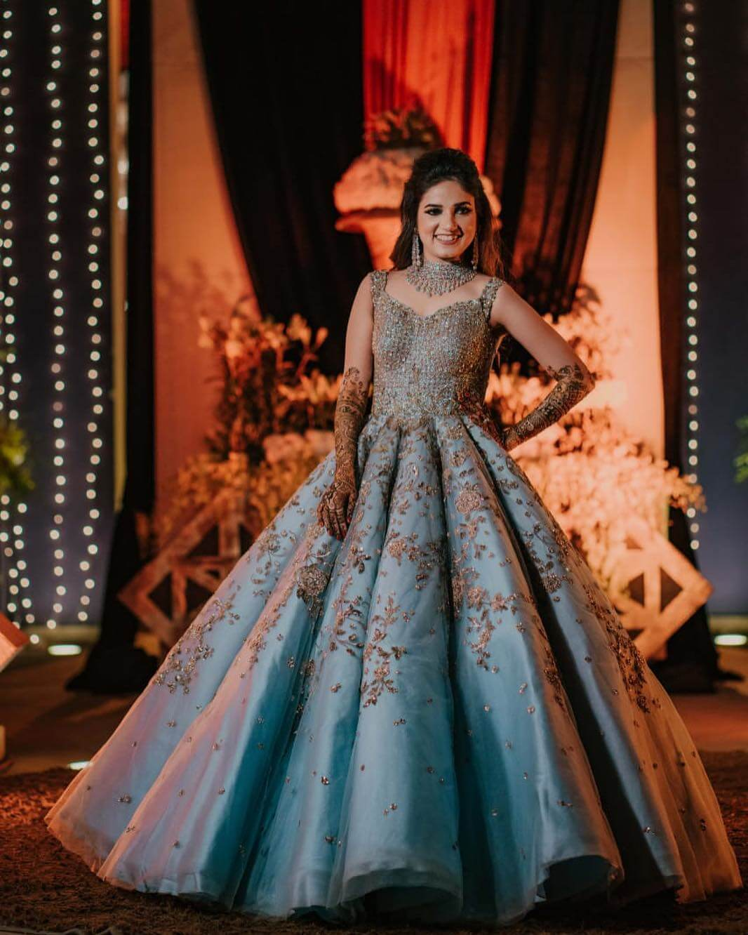 ClassicPastel Blue Wedding Gown for wedding functions