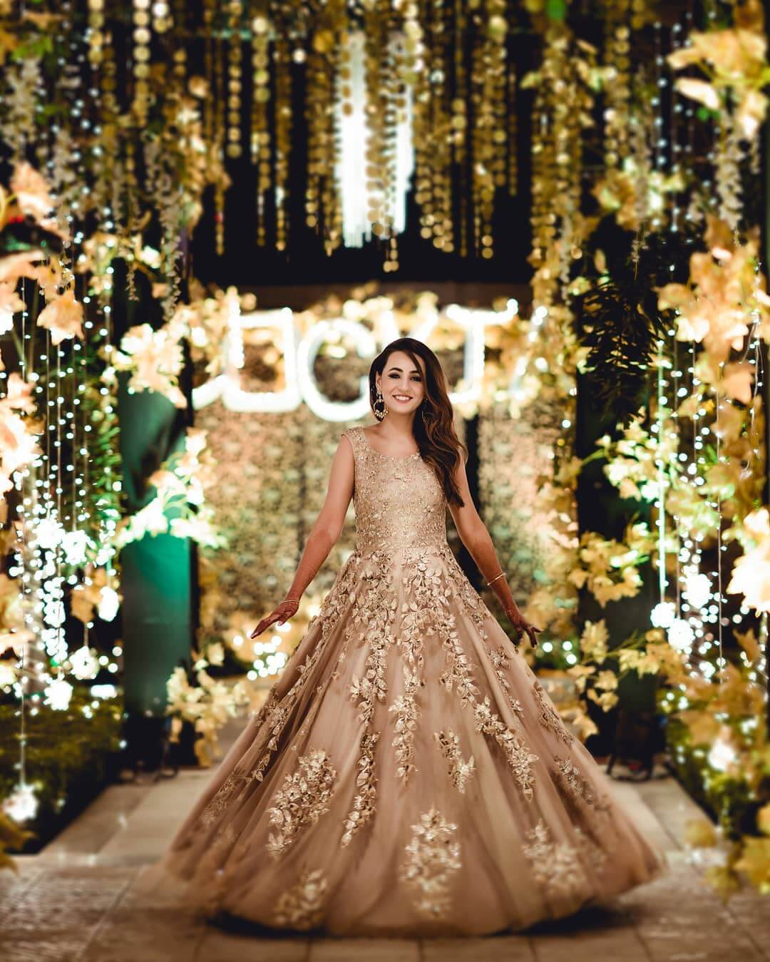 The SimpleBeige Color Wedding Gown for wedding functions