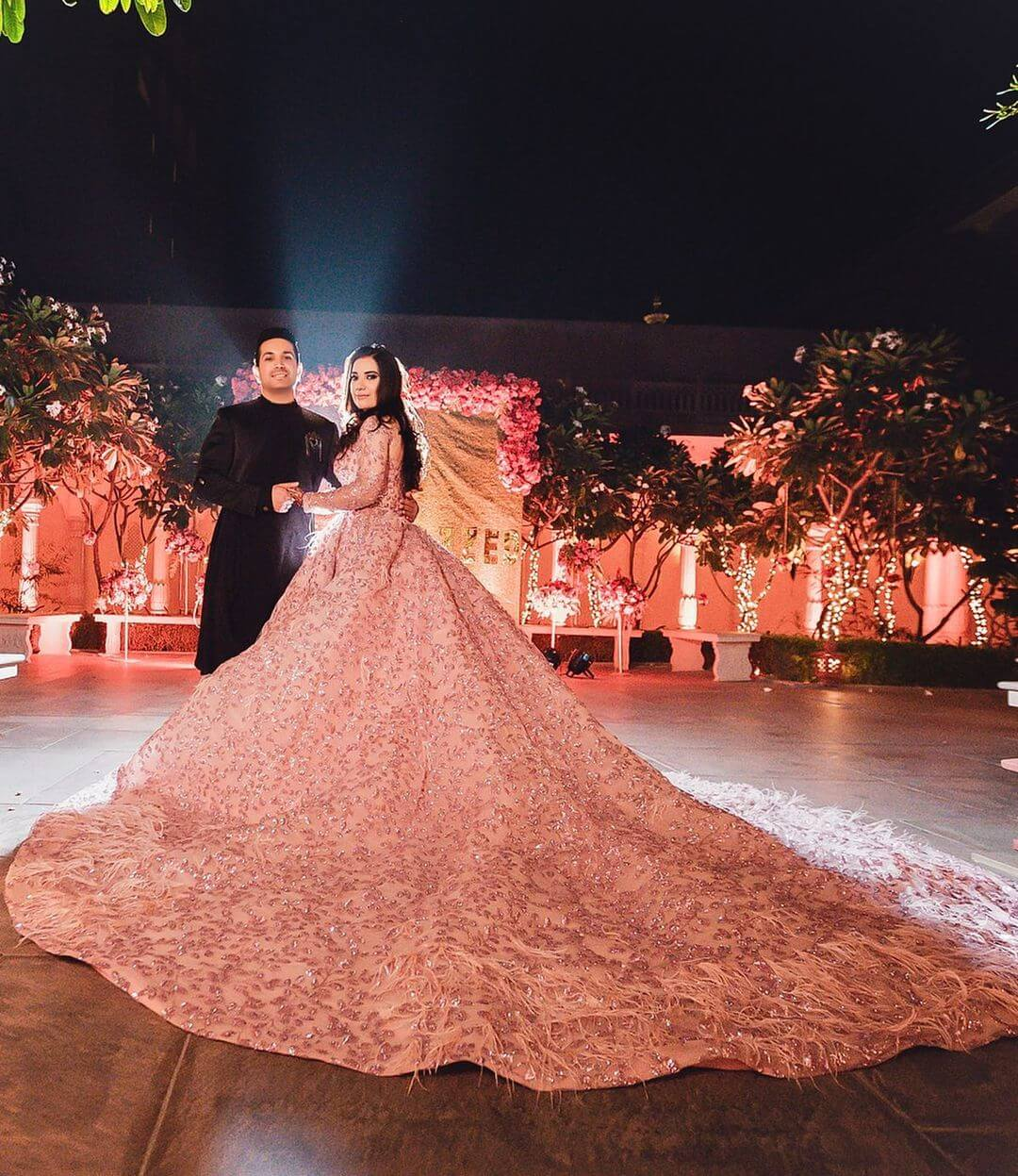 Chic Baby Pink Wedding Gown for wedding functions