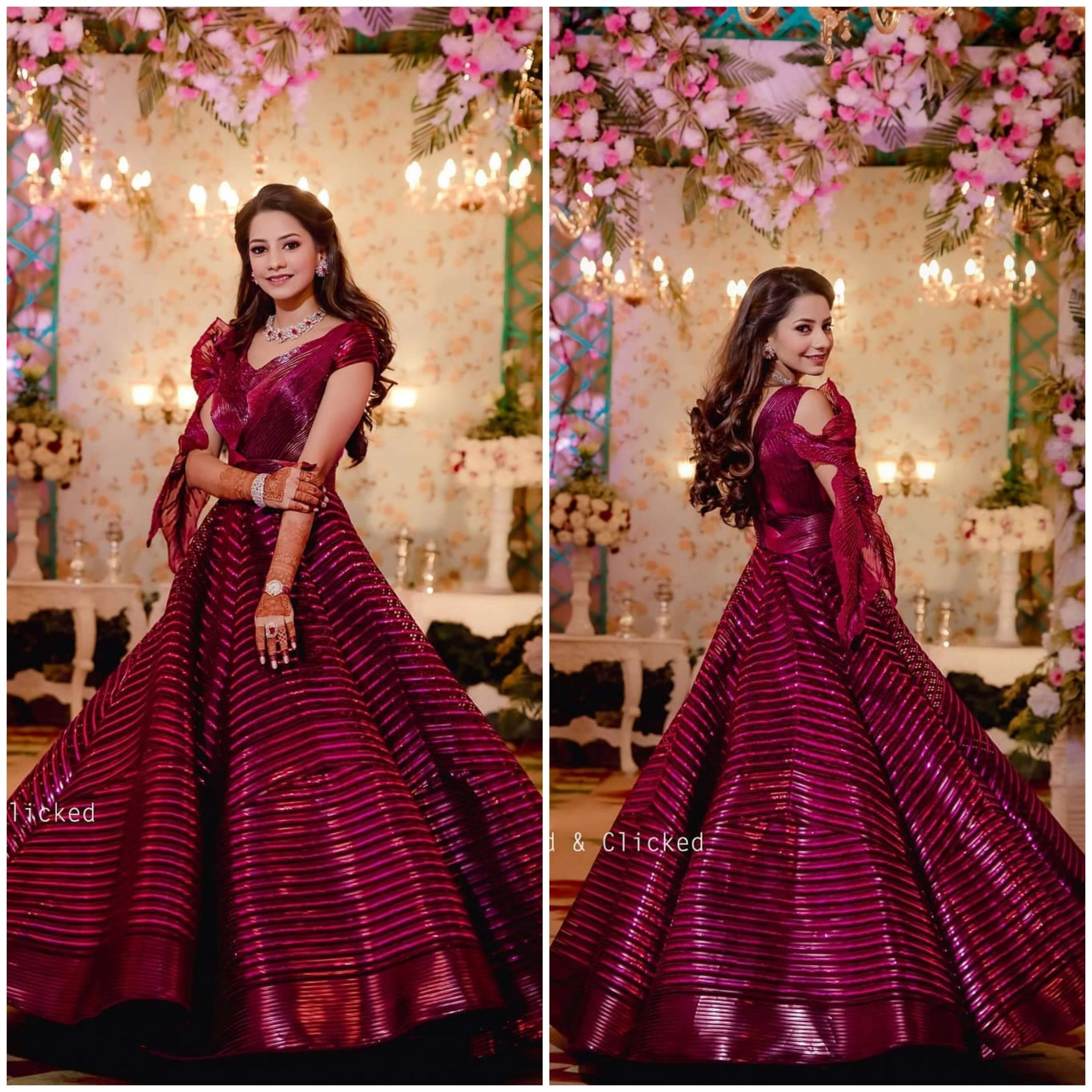 Wine Red A Line Wedding Gown for wedding functions