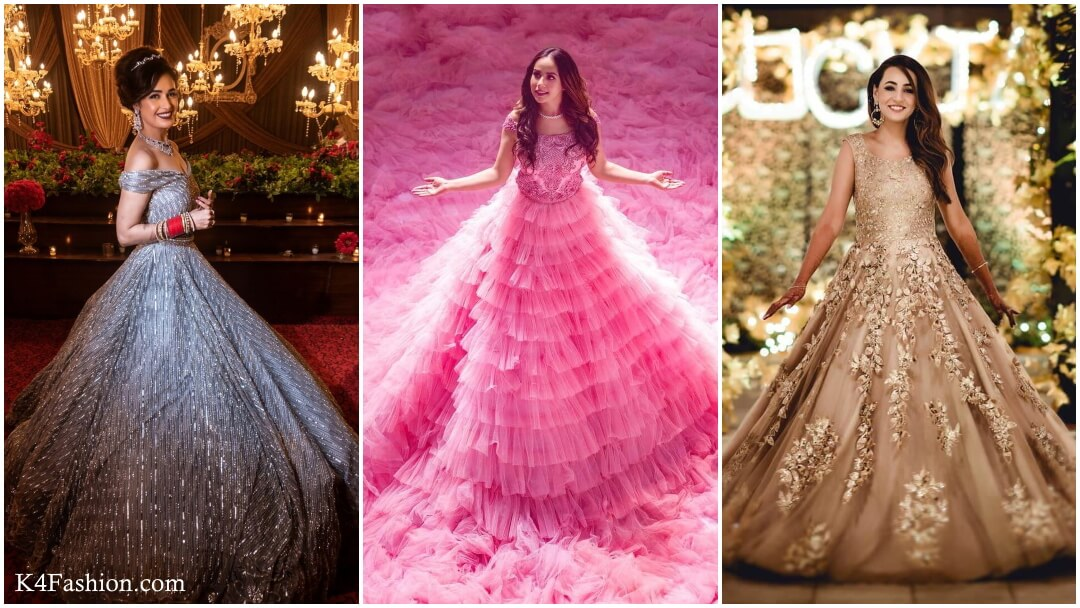 Checkout gowns for wedding functions. At Indian wedding women dressed with bridal, ethnic, peach, indo western gown to look gorgeous. Gowns are also used in different occasions like engagement, reception, sangeeth, parties. Ask with your designer to design the perfect wedding gown for looking charismatic in wedding functions.