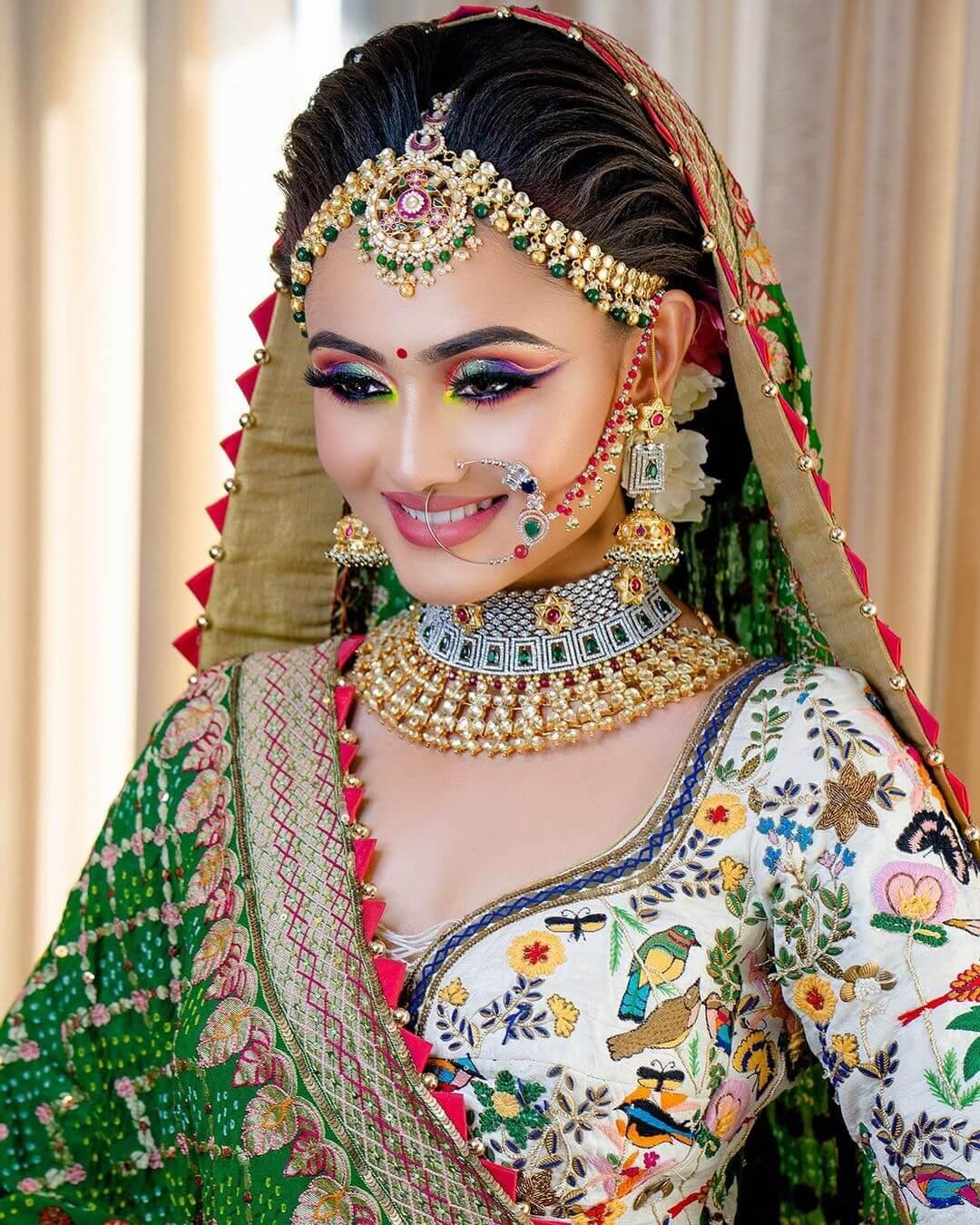 Heavy Embroidery bridal Look - traditional Gujarati bridal makeup looks