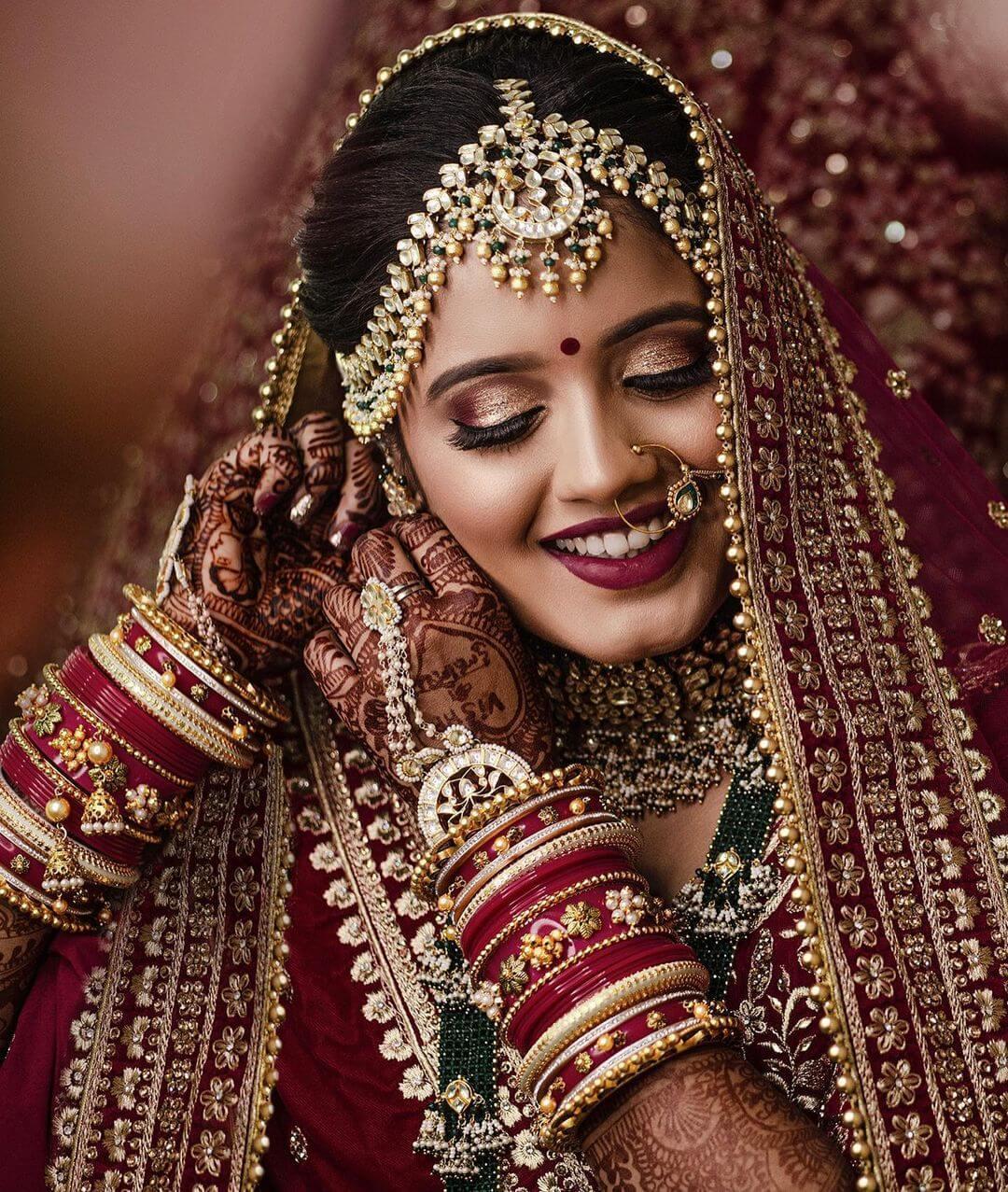 Maroon lehenga bridal Look