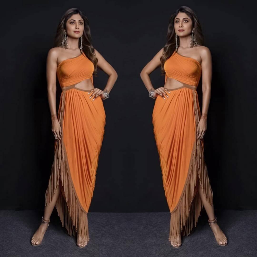 EXOTIC SLIM FIT DRESS Orange Outfits for Wedding Season
