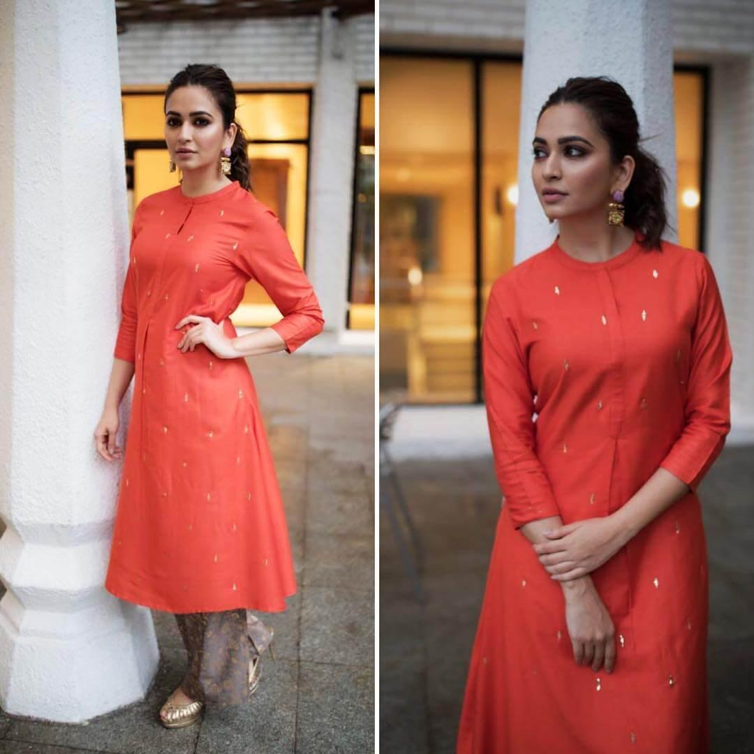 ELEGANT KURTI WITH PALAZZO Orange Outfits for Wedding Season