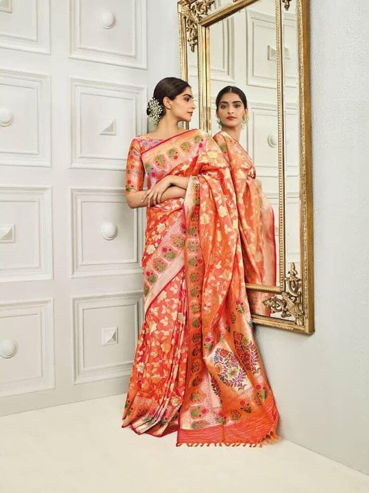 TYPICAL BANARSI SAREE SWAG Orange Outfits for Wedding Season