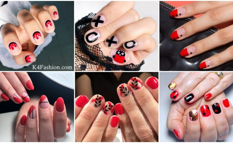 Checkout red and black nail art design for fashionable looks of finger. Women uses glitter, sparkly, matte, acrylic, elegant designs with red and black shades in nail to attend parties, wedding and multiple occasions.