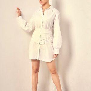 shraddha kapoor Short cuffs fluffy sleeves white shirt