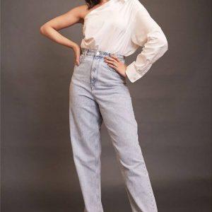deepika padukone One shoulder white shirt