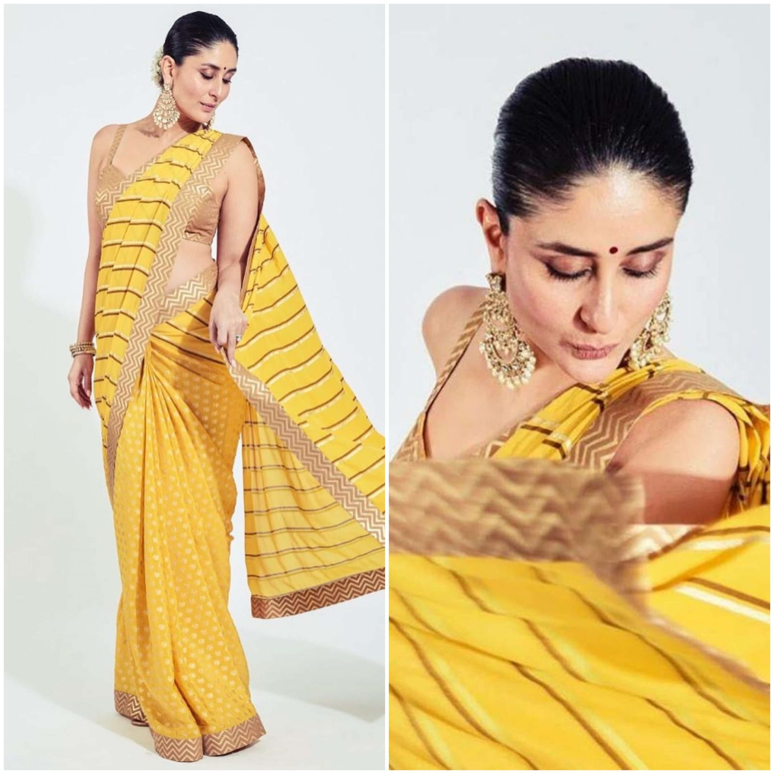 Kareena Kapoor Western union of saree Traditional Yellow Outfits for Indian Festivals