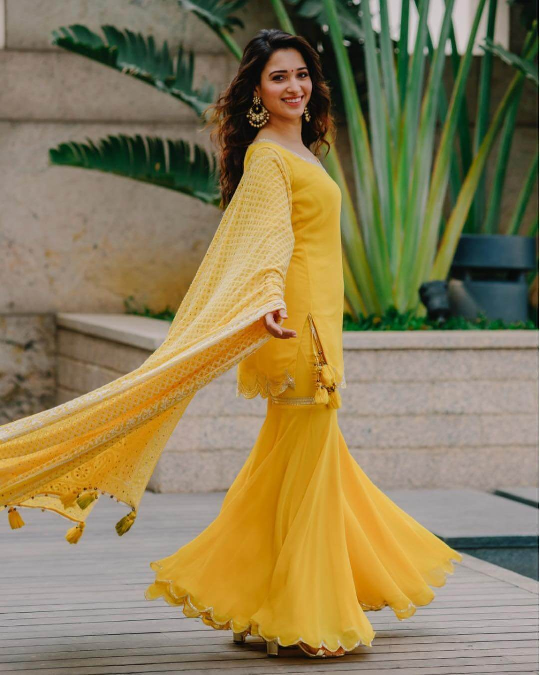 Tamannaah Bhatia Pastel Traditional Yellow Outfits for Indian Festivals