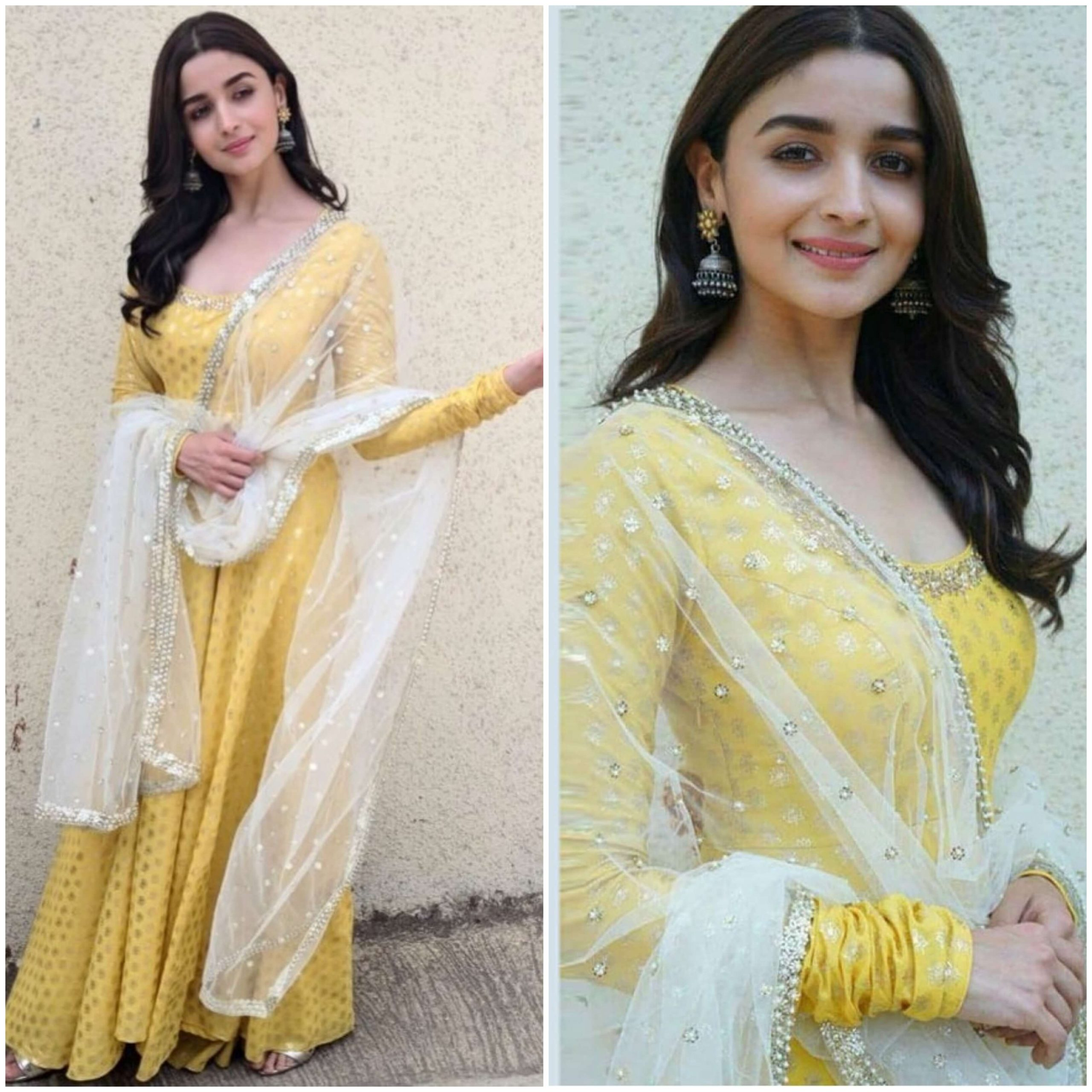 Alia Bhatt Shimmering gold look Traditional Yellow Outfits for Indian Festivals