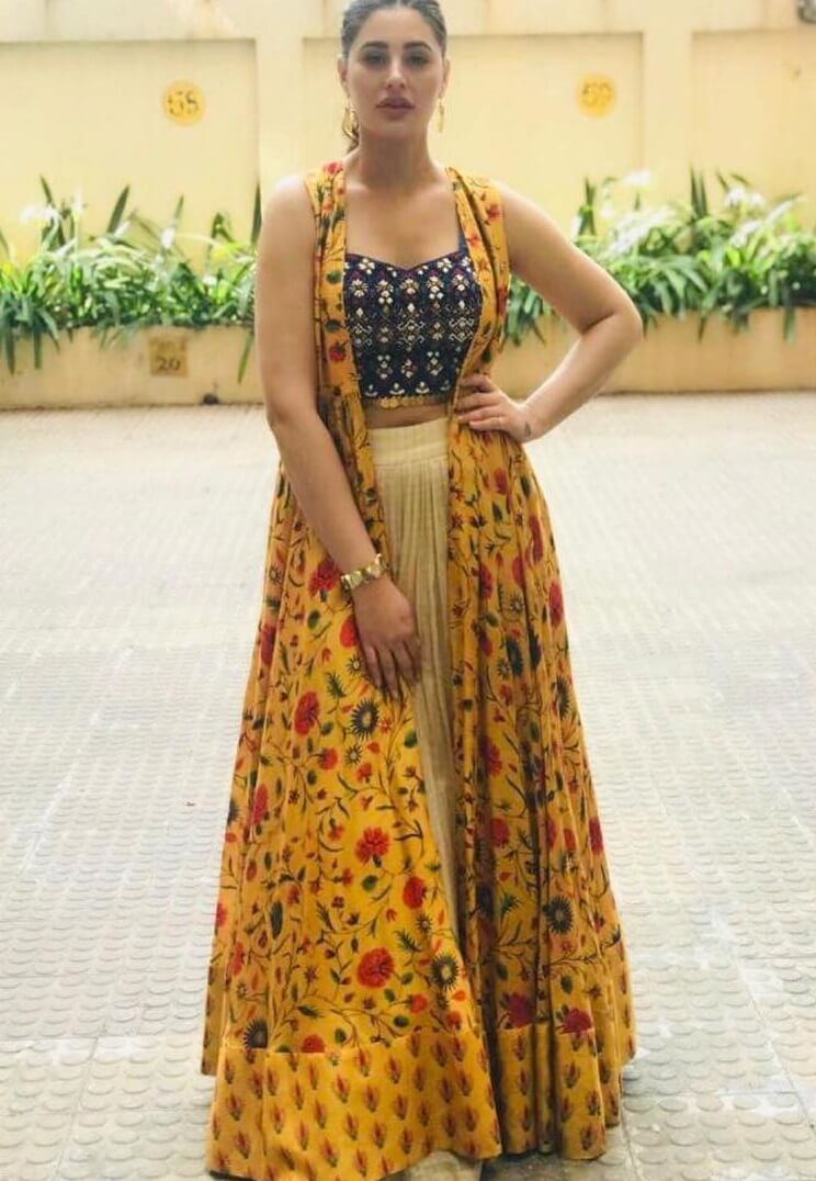 Nargis Fakhri Classic funky touch Traditional Yellow Outfits for Indian Festivals