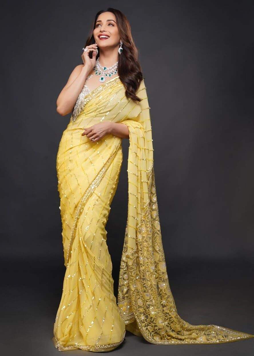 Madhuri Dixit Saree look Traditional Yellow Outfits for Indian Festivals