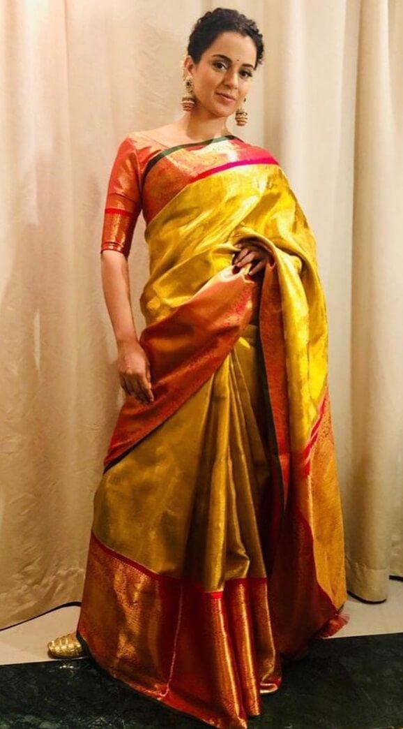Kangana Ranaut Royal saree Avatar Traditional Yellow Outfits for Indian Festivals