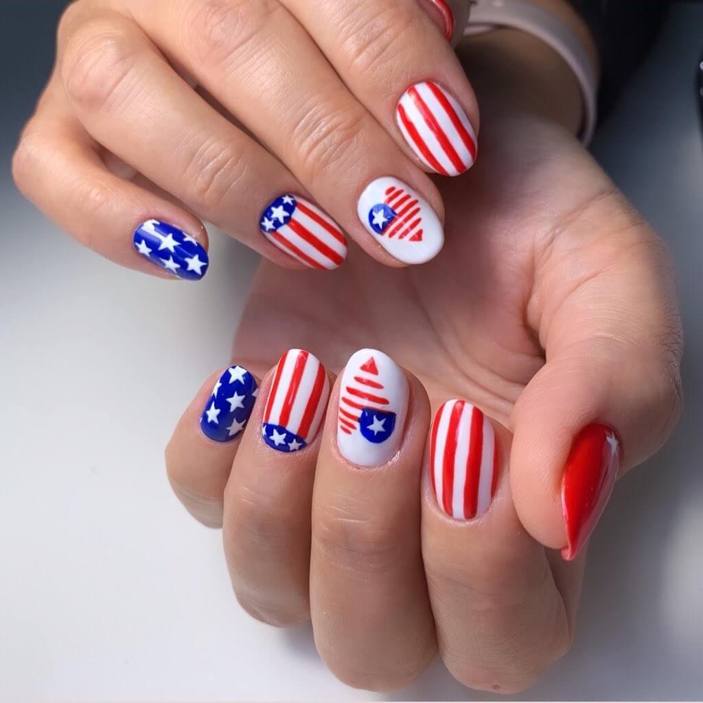 Very Adorable Heart-shaped Nail Art - Super cute American Flag Nail Art