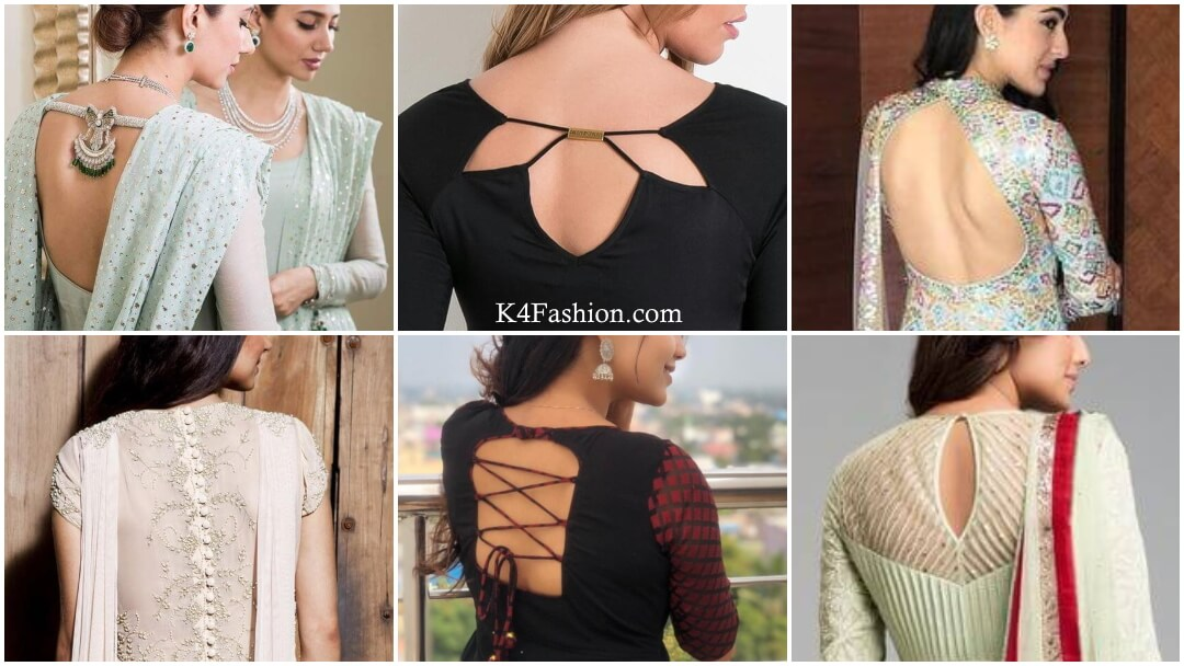 Checkout churidar neck designs from back side with kurti and saree. Mirror work, patch work, boat neck, piping, collar, embroidery and net are some latest neck designs. Churidar neck designs for preferably house parties, wedding and engagements.