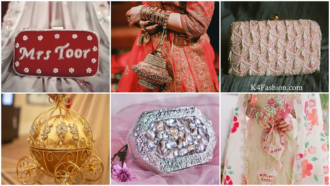 Checkout the designer bridal handbags for looking striking looks in wedding. In Indian wedding, women carries potli bags and clutches along with their designer lehenga and sarees. Ask to your designer to design a perfect pair of lehenga along-with potli bag and clutches.