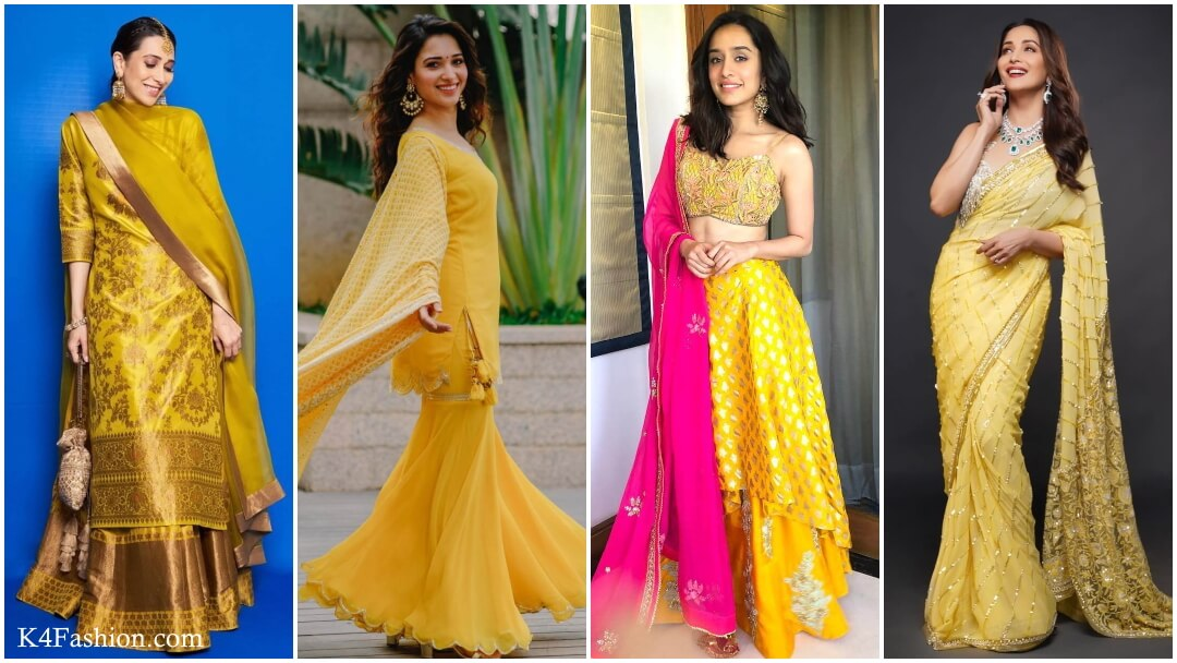 Checkout the traditional yellow outfits for Indian festivals. Yellow outfits are perfect for Makar sankranti, Basant panchami, Holi, Diwali, Saraswati puja festivals, and also like to wear in Haldi functions, Bridal lehenga and Wedding functions.