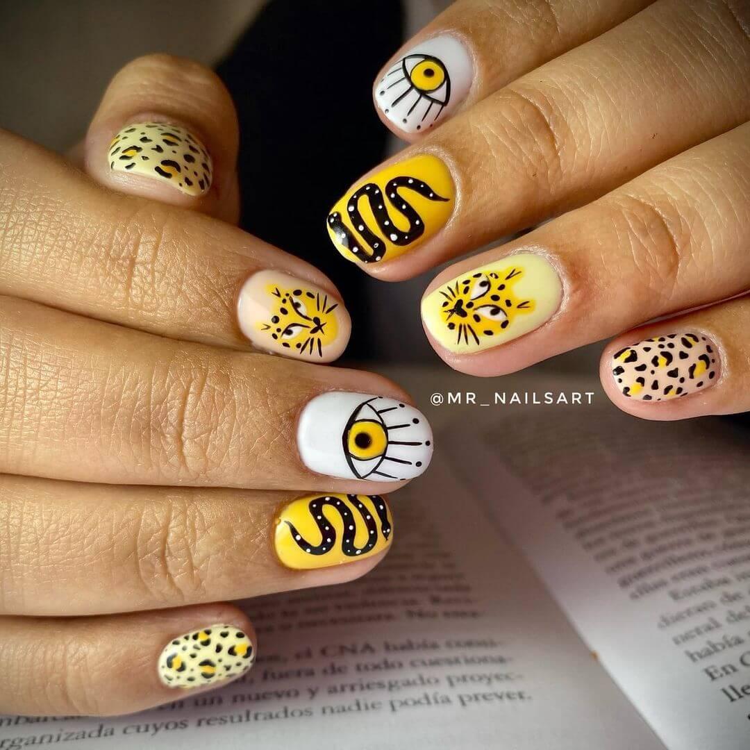 Animal themed nail art Leopard Nails