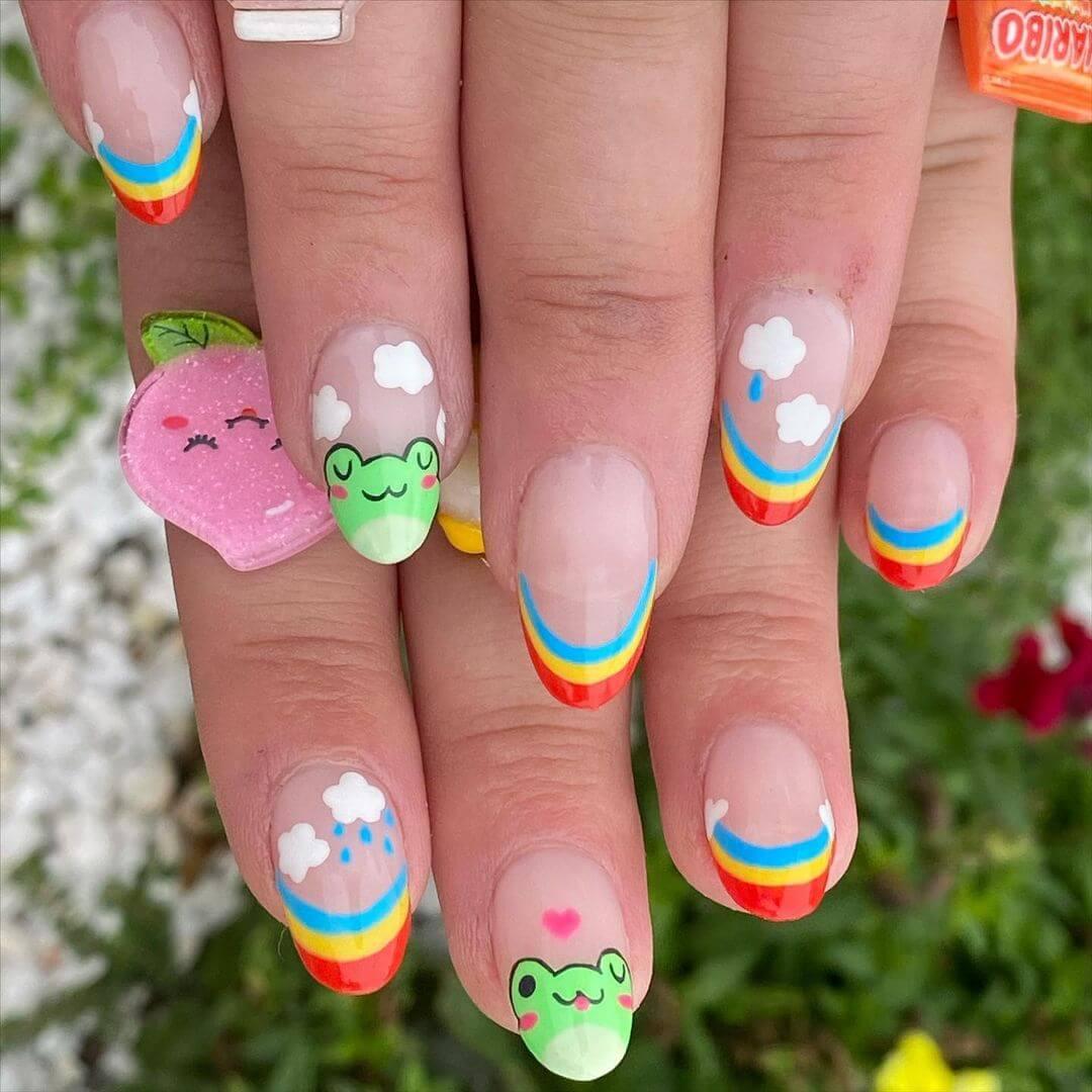 Animal themed nail art Frog Nails