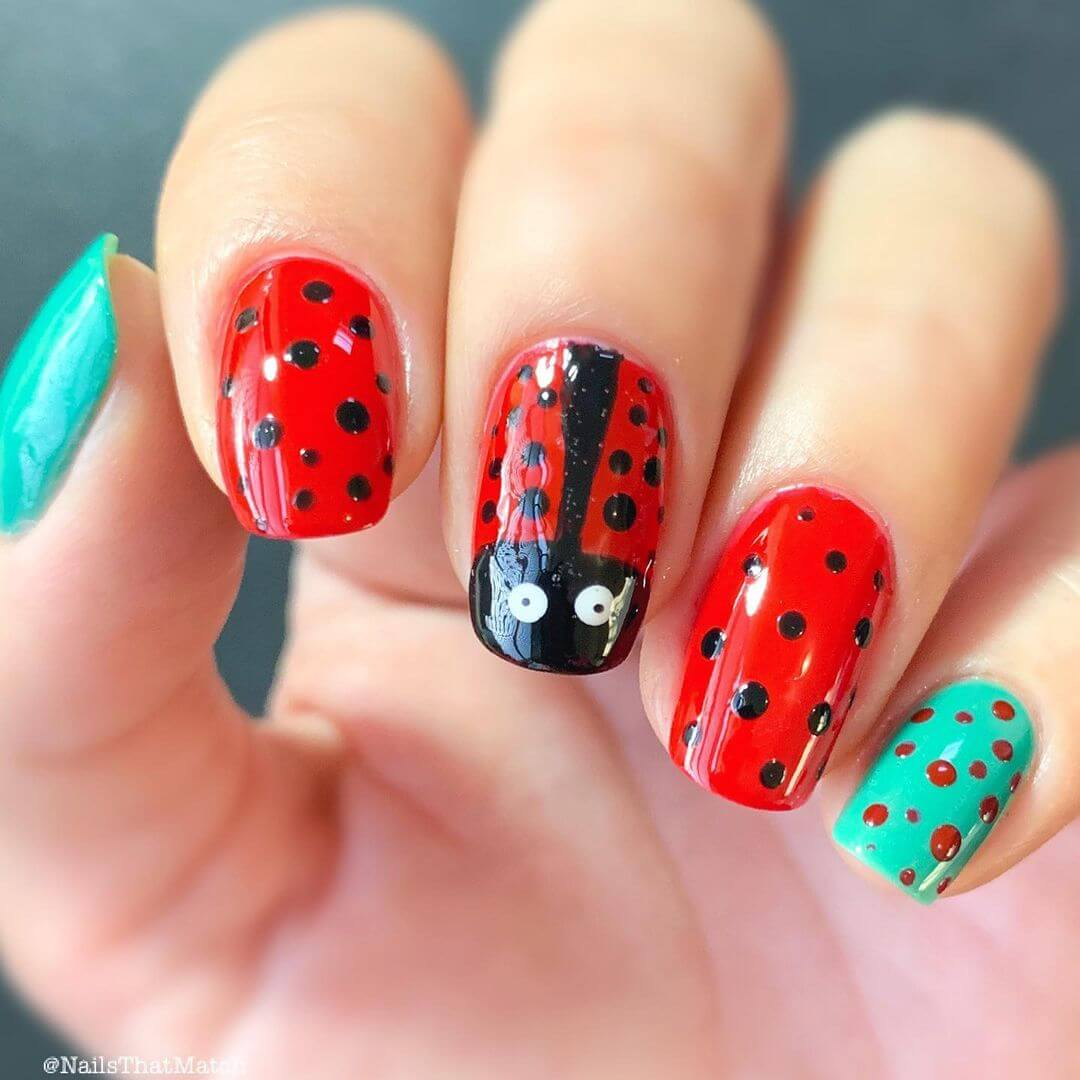 Animal themed nail art Ladybug Nails