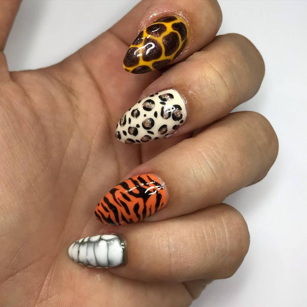 Animal themed nail art Mixed Animal Prints
