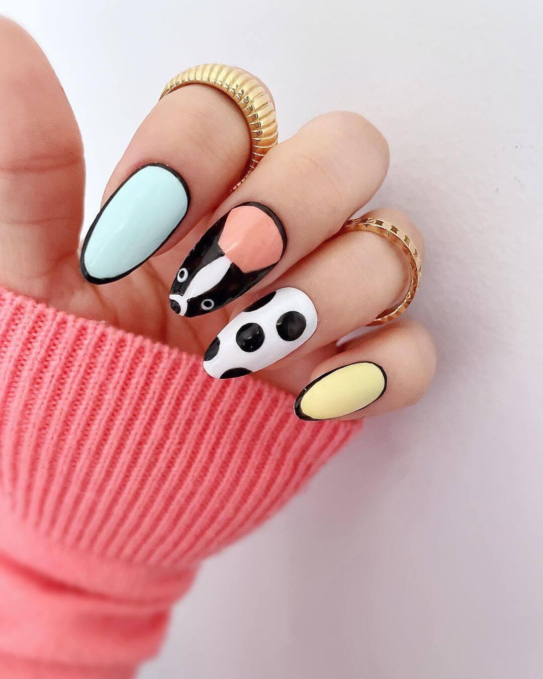 Animal themed nail art Mismatched Nails