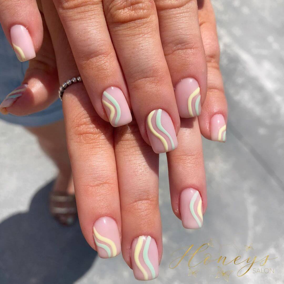 Gel Nail Art Pastel Swirls Nude Gel Nail Art Design