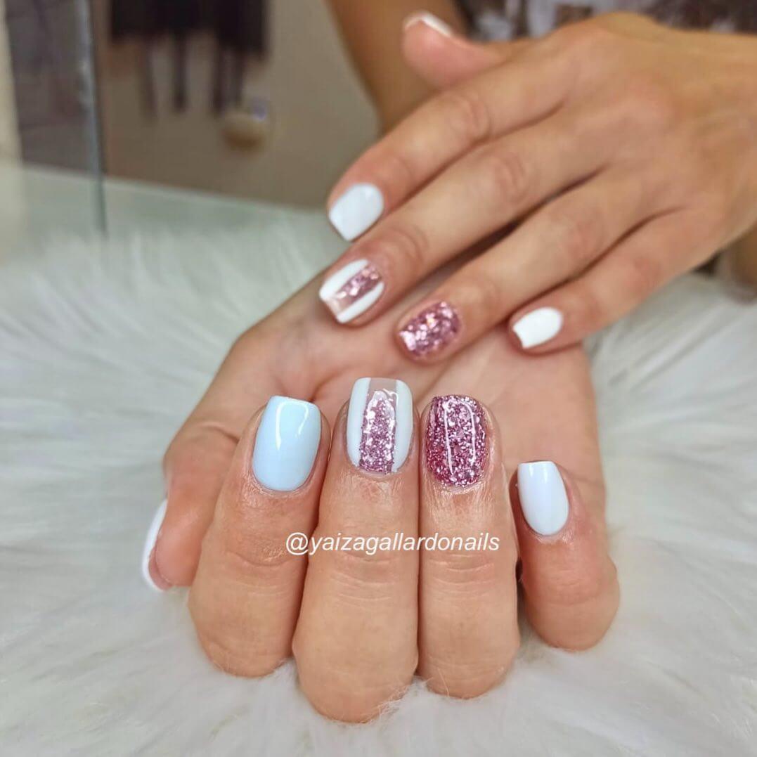 Pink Glitter White Gel Nail Art Design
