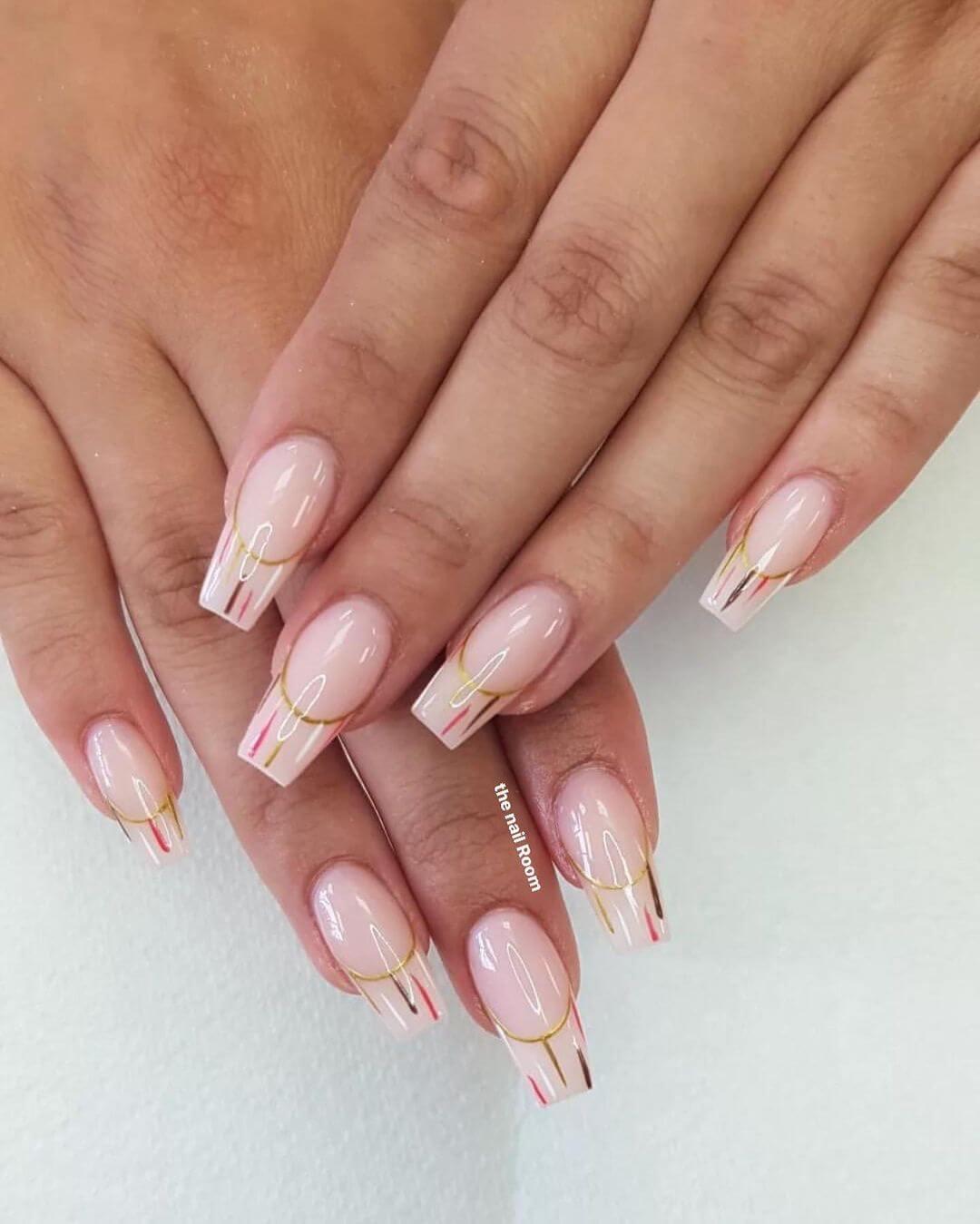 Baby Pink Tip Decorated Gel Nail Art Design