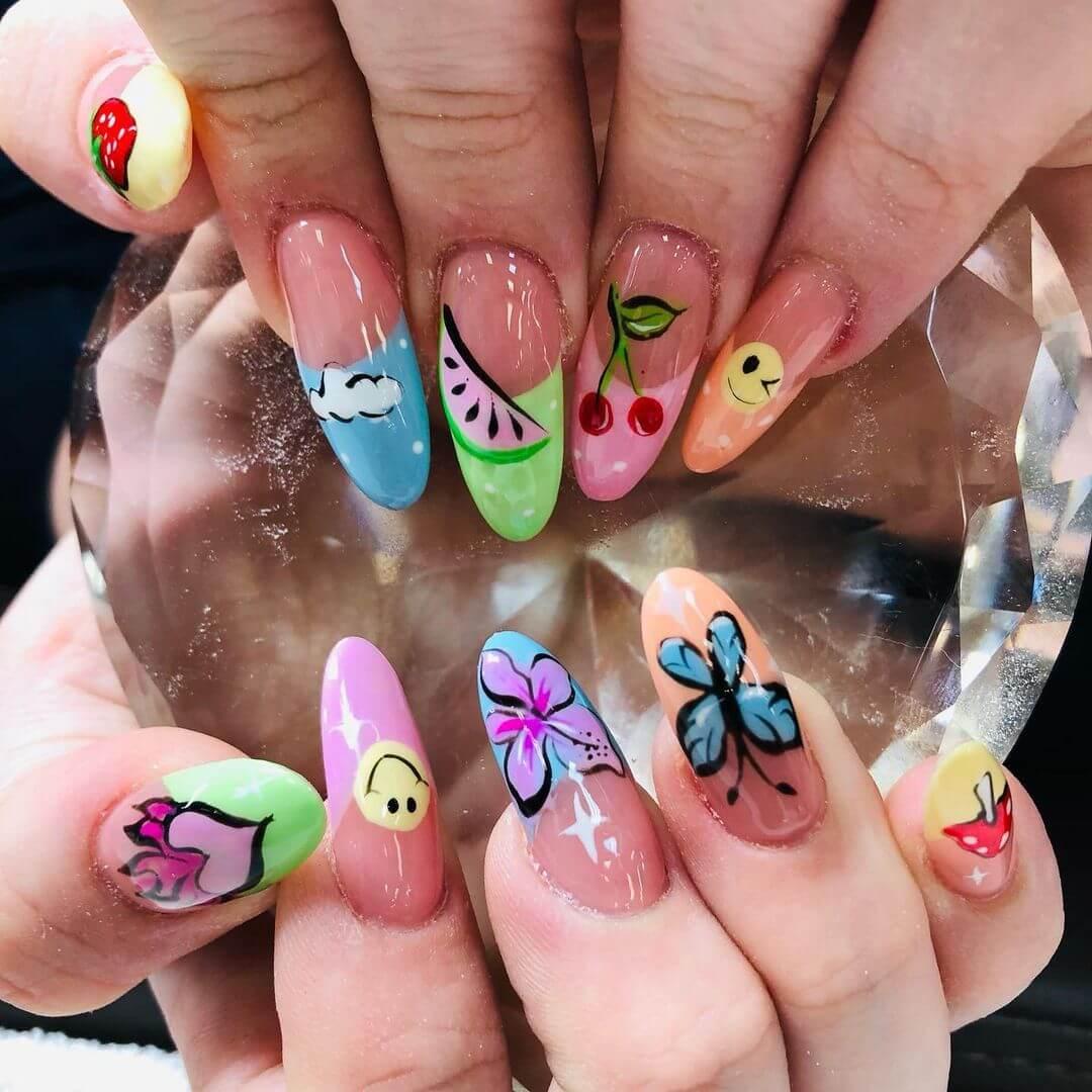 Cute Illustrations Gel Nail Art Design