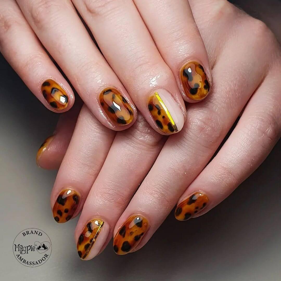 Gel Nail Art Tortoise Gold Gel Nail Art Design
