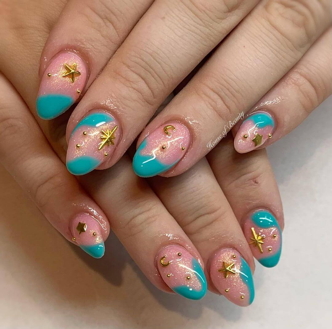 Gel Nail Art Starry Nights