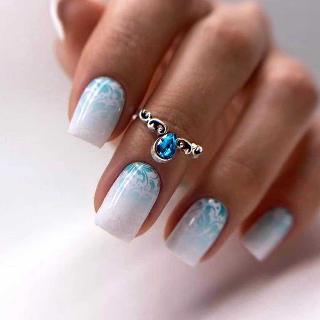 Gel Nail Art Blue Waves Crash Gel Nail Art Design