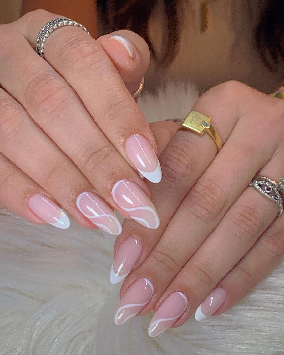Gel Nail Art White Swirls Gel Nail Art Design