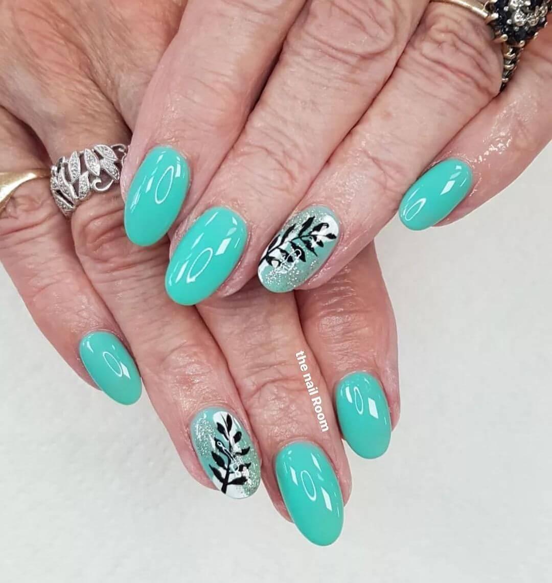 Blue Candy, Sparkle Coated Leaf Gel Nail Art Design