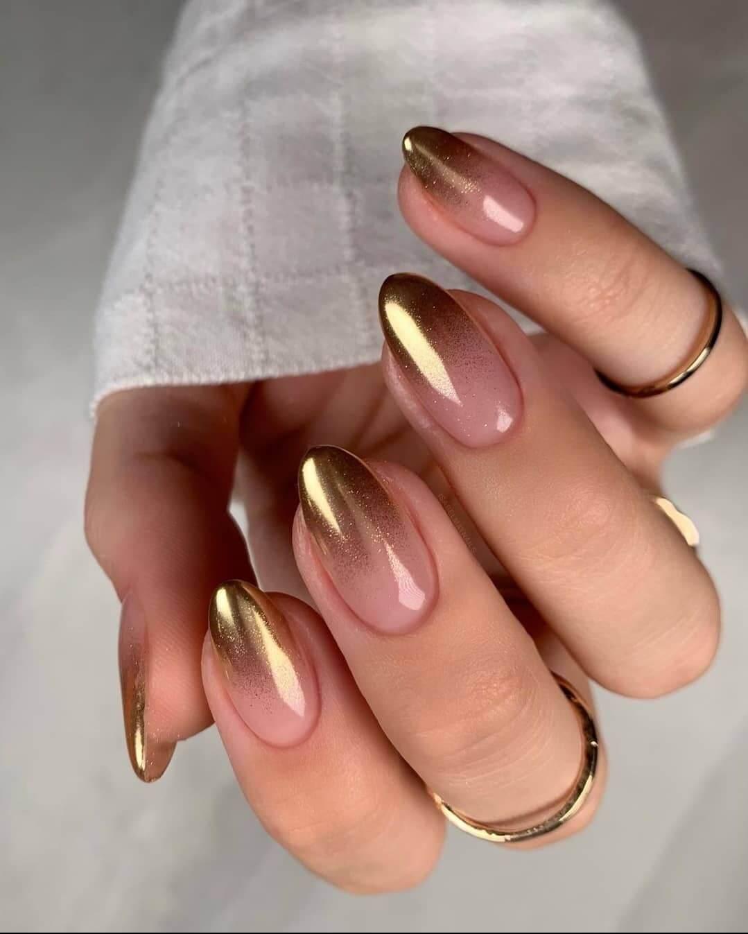 Gel Nail Art Designs Try the pink golden mixture