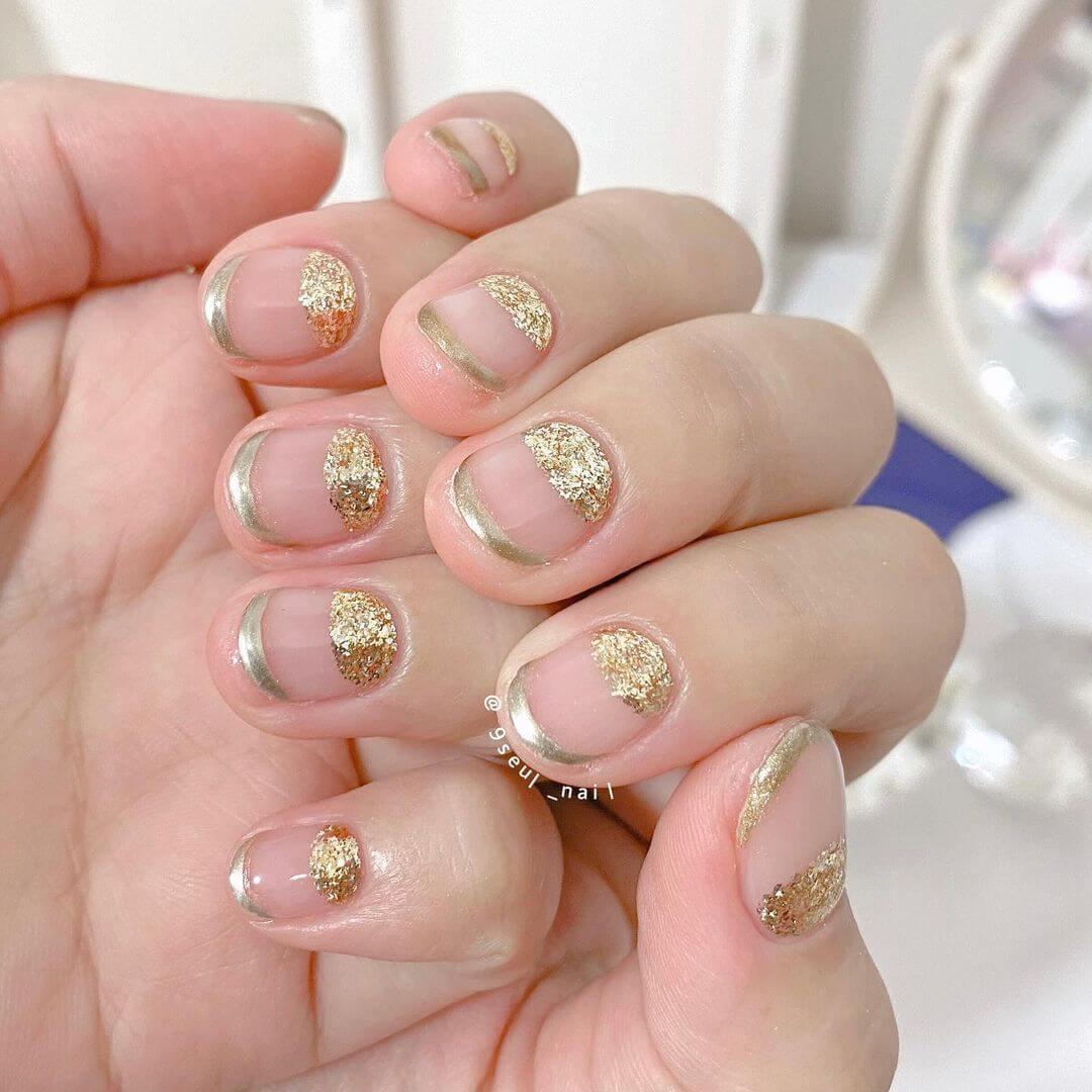 Gel Nail Art Designs Try shimmery glittery golden