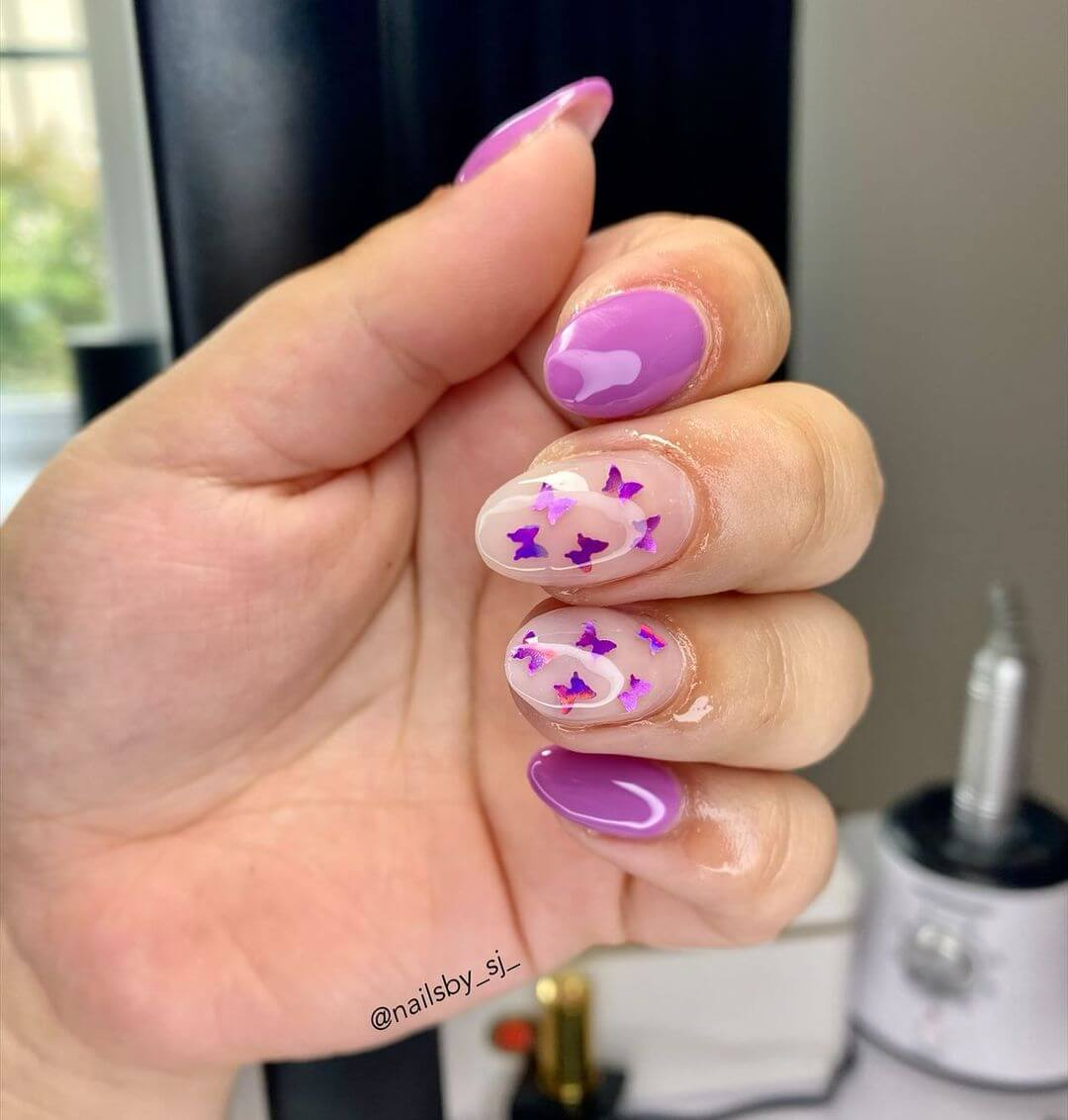 Gel Nail Art Designs Purple butterflies all around!