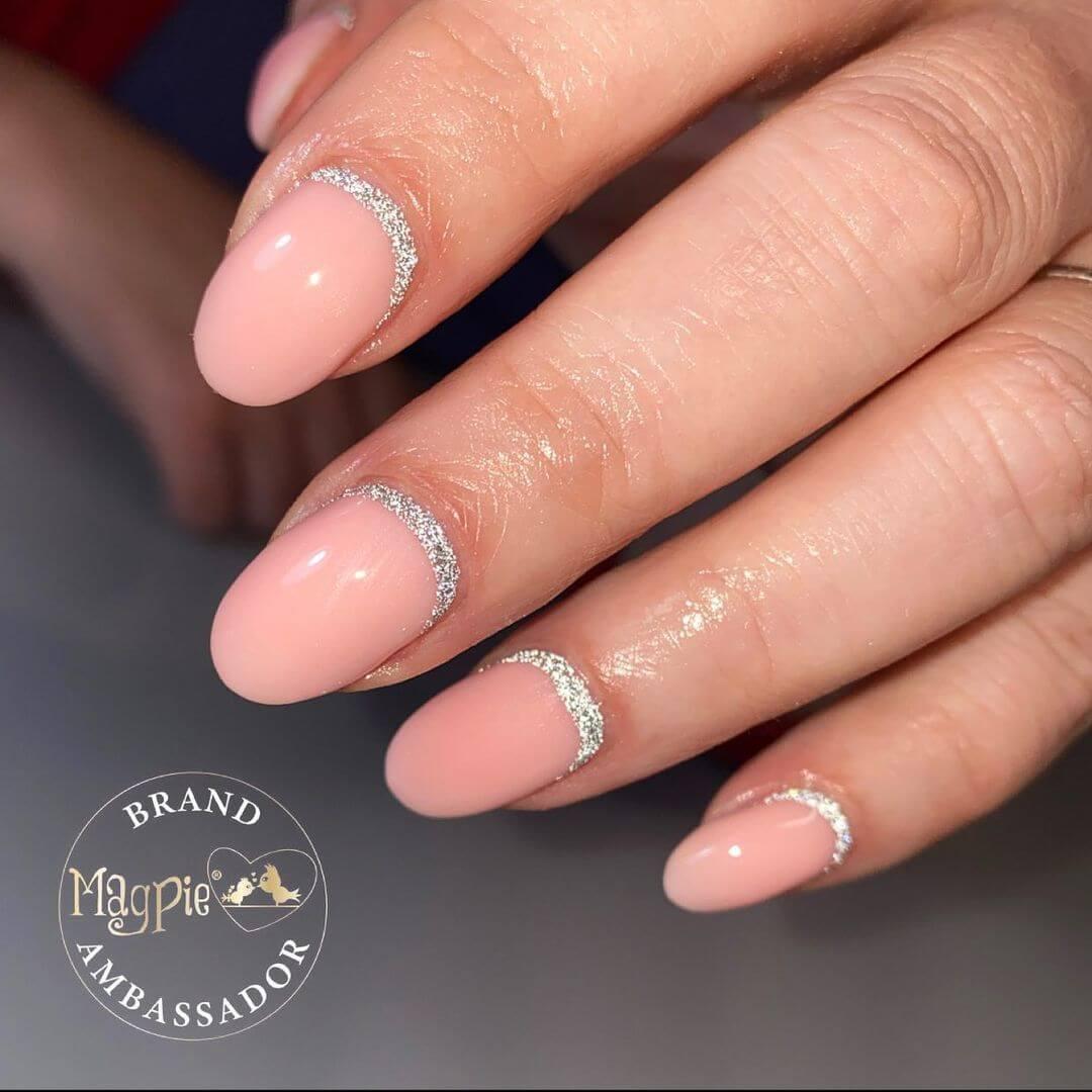 Glitter Nail Art Designs Adorable peachy pink nail paint