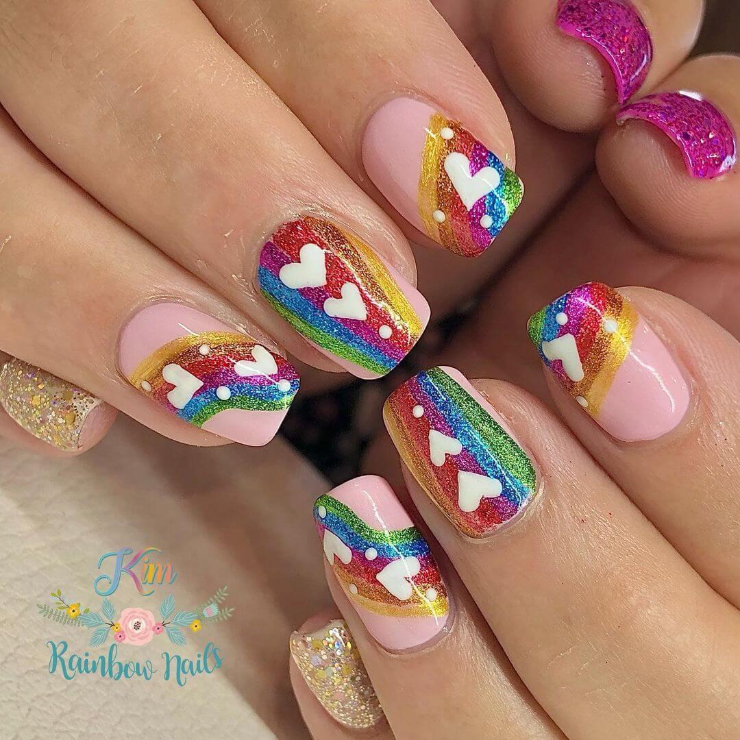 Glitter Nail Art Designs Very adorable rainbow glistening nails