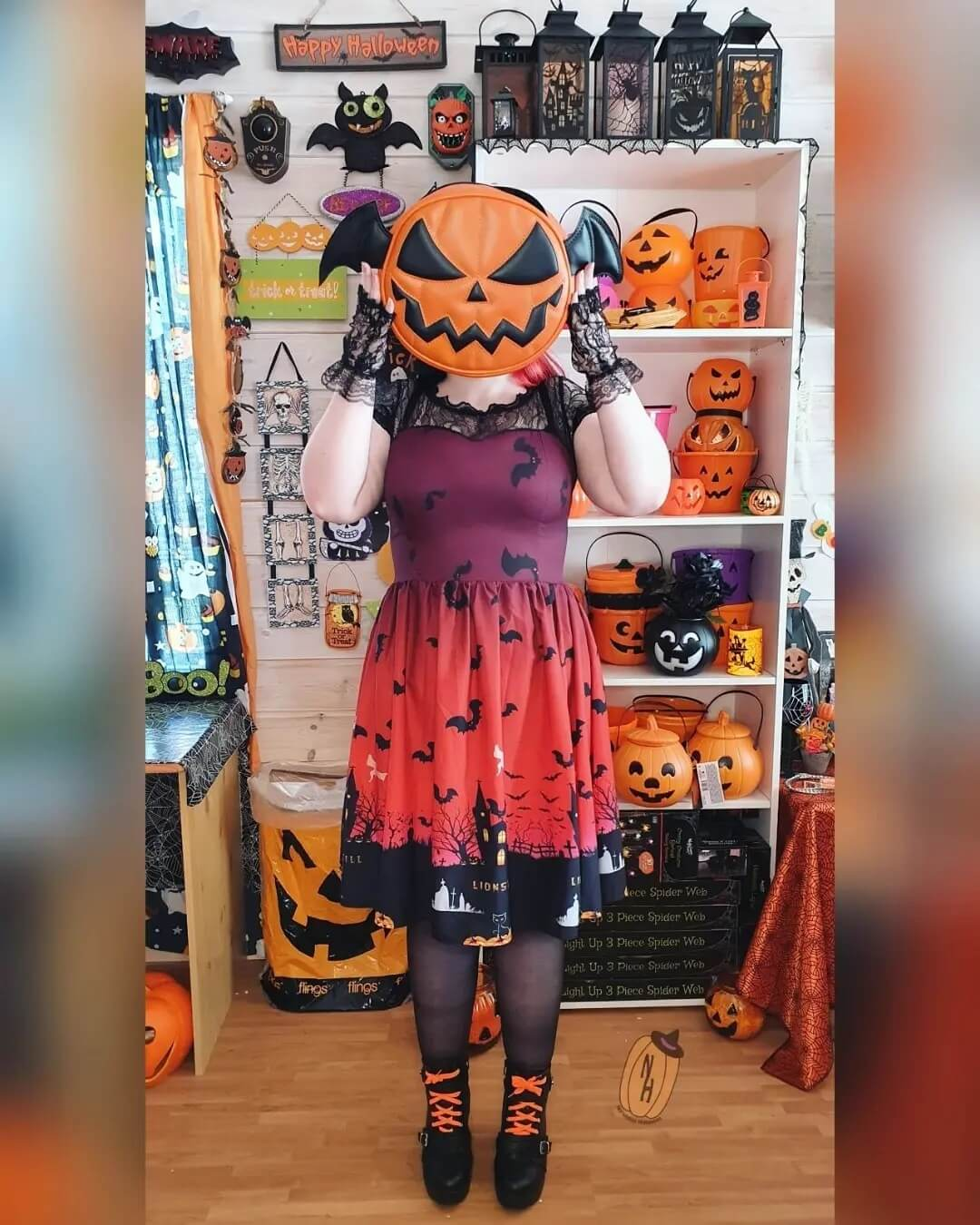 Halloween Costumes for Women Pumpkin Themed Red And Black Halloween Dress