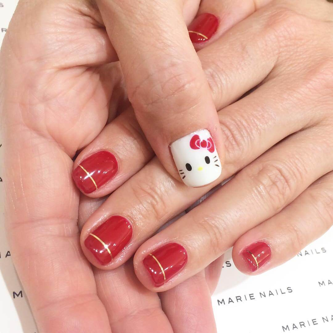 Hello Kitty Nail Art Design Hello Kitty design with red nail art