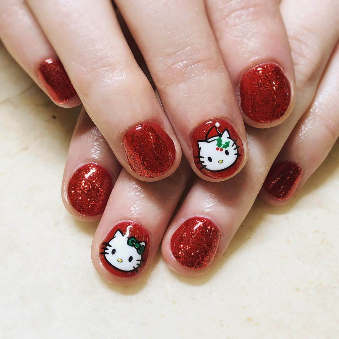 Hello Kitty nail art designs for beginners - Another Hello Kitty style with its red companions